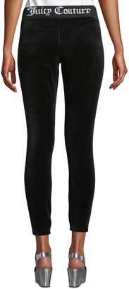 Juicy Couture Logo-Waist Stretch Velour Leggings