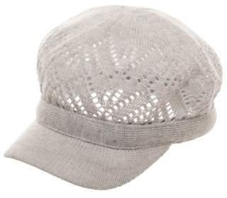 Time and Tru Women's Light Gray Acrylic Knitted Cadet Cap