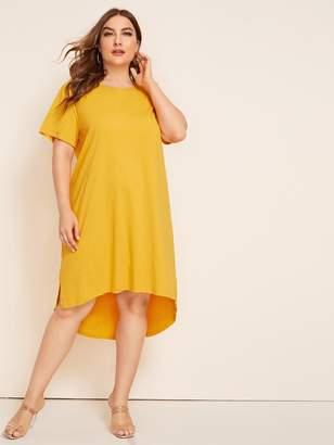 Shein Plus Solid Split High-low Hem Dress
