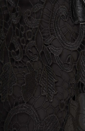 Topshop Faux Leather Detail Lace Overlay Coat