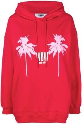 MSGM logo palm print hoodie