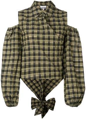 Ganni Charron cold-shoulder shirt