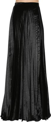 Saint Laurent Plisse Velvet Long Skirt