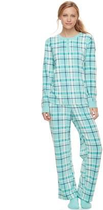 Croft & Barrow Women's Pajamas: Fleece Henley Top, Pants & Socks PJ Set