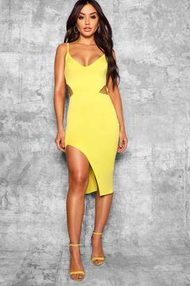 boohoo Cut Out Detail Thigh Split Midi Dress