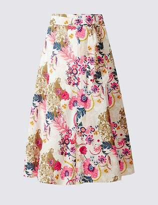 Marks and Spencer Pure Cotton Floral Print A-Line Midi Skirt