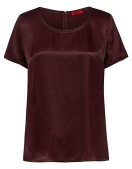 HUGO Boss Short-sleeved top in a lustrous fabric 4 Dark Red
