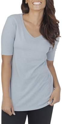 Fruit of the Loom Women's Essentials Soft Elbow Length V-Neck T Shirt