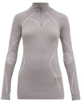 Falke High Neck Half Zip Wool Blend Top - Womens - Grey