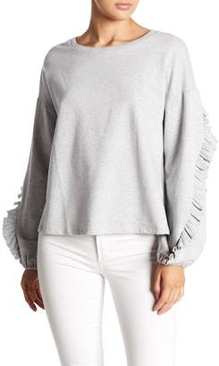 Vince Camuto Ruffle Sleeve French Terry Pullover