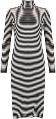 Petit Bateau Striped cotton rib-knit turtleneck midi dress $129 thestylecure.com