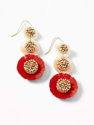 Old Navy Tiered Tassel Flower Drop Earrings for Women