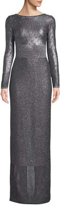 St. John Boat-Neck Long-Sleeve Metallic-Plaited Gown