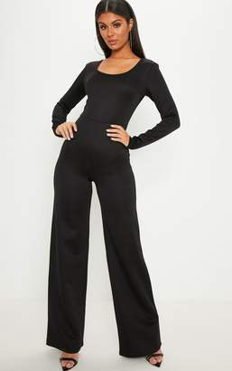 PrettyLittleThing Black Long Sleeve Scuba Flared Leg Jumpsuit