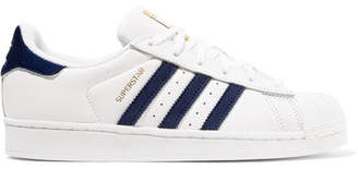 adidas Superstar Velvet-trimmed Leather Sneakers - White