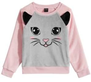 Awake Toddler Girls Cat-Print Faux-Fur Sweater