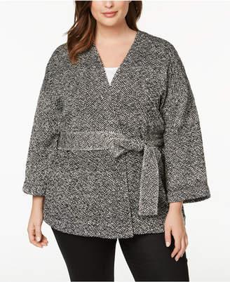 Eileen Fisher Plus Size Organic Cotton Belted Kimono Jacket
