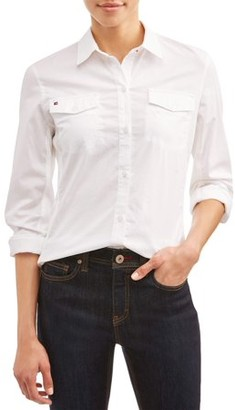 Ev1 From Ellen Degeneres EV1 from Ellen DeGeneres Washed Cotton And Stretch Rib Knit Contrast Button Down Shirt