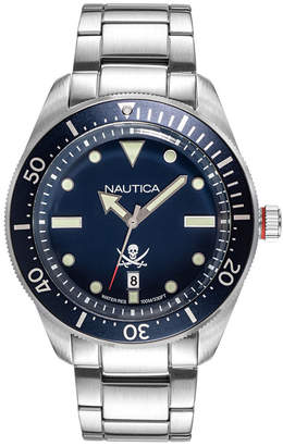 Nautica Men NAPHCP905 Hillcrest Silver/Navy Stainless Steel Bracelet Watch