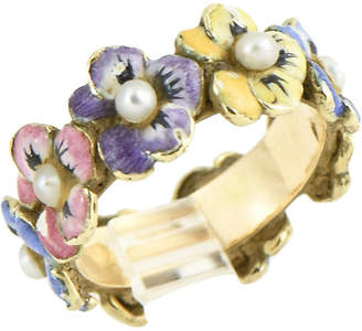 One Kings Lane Vintage Enamel & Seed Pearl Pansy Gold Band Ring - Owl's Roost Antiques