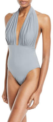 Norma Kamali Halter Open-Back One-Piece Swimsuit
