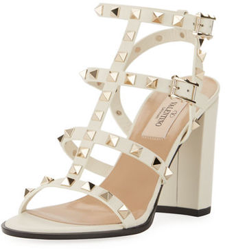 Valentino Rockstud Leather 90mm City Sandal $1,045 thestylecure.com