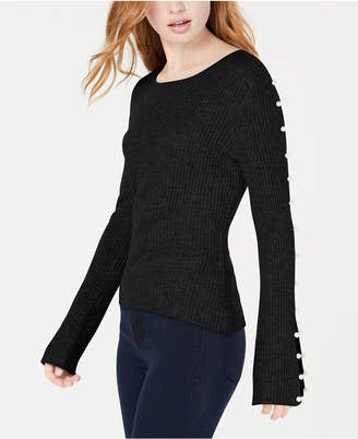 Ultra Flirt By Ikeddi Juniors' Faux-Pearl Rib-Knit Sweater