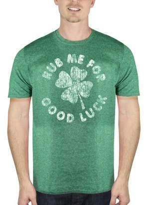 Humör Rub Me For Good Luck Four Leaf Clover Irish Funny Men's Green Graphic T-Shirt