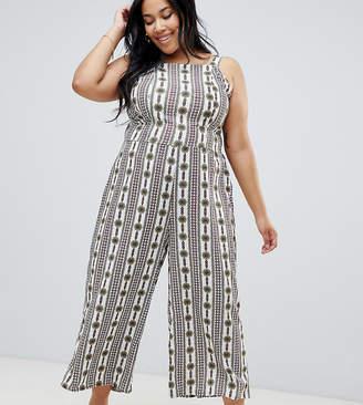 Glamorous Curve Printed Halterneck Jumpsuit