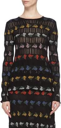 Sonia Rykiel Mimosa floral jacquard open knit sweater