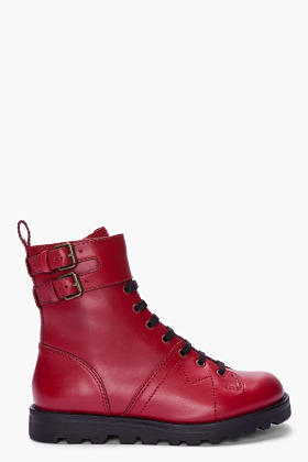 Marc by Marc Jacobs Red Leather Monkey Boots