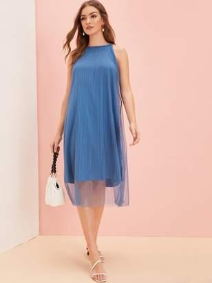 Shein Mesh Overlay Plisse Solid Dress