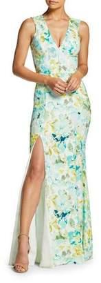 Dress the Population Sandra V-Neck Sleeveless Column Gown with Slit