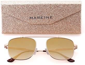 MAREINE Unisex Square Sunglasses Gradient Brown Lens/Rose Gold Frame Medium Size