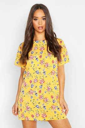 boohoo Floral Print Shift Dress
