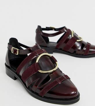 Asos Design DESIGN Wide Fit Villa premium leather flat shoes in burgundy