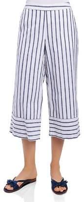 Foxcroft Striped & Cropped Chambray Pants