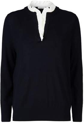 Sandro Ruffle Collar Sweater
