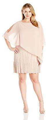 Xscape Evenings Women's Plus-Size Short Bead Ity with Chiffon Overlay