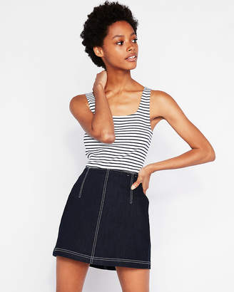 Express One Eleven Striped Modern Rib Double Scoop Neck Tank