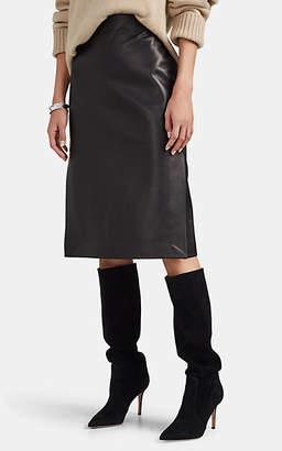 Barneys New York Women's Leather Split-Side Knee-Length Skirt - Black