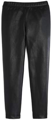 Design History Girls' Faux-Leather-Paneled Leggings