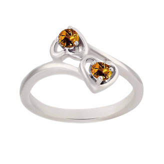 FINE JEWELRY Genuine Citrine Sterling Silver Two Heart Ring
