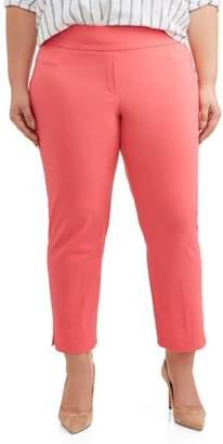 2ee504ae5ab55 Lifestyle Attitudes Women s Plus Size Stretch Woven Ankle Pant
