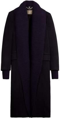 Burberry cashmere detachable rib knit collar coat