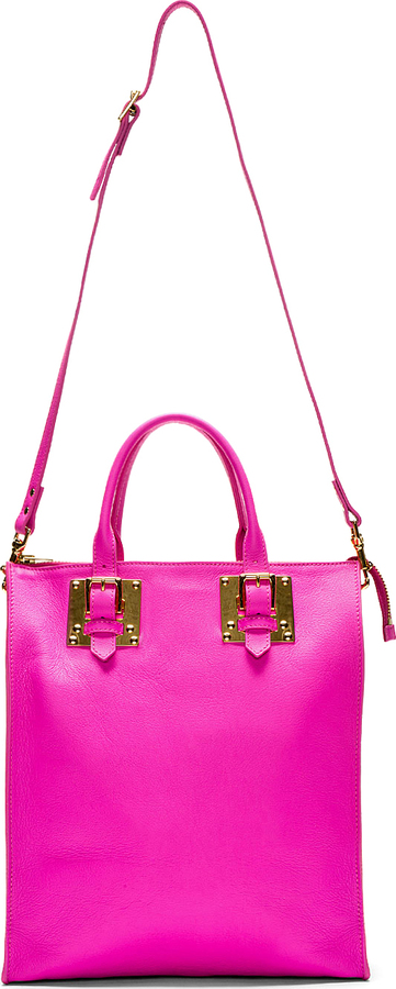 Sophie Hulme Pink Grained Leather Tote Bag