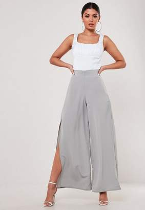 Missguided Petite Grey Side Leg Split Pants