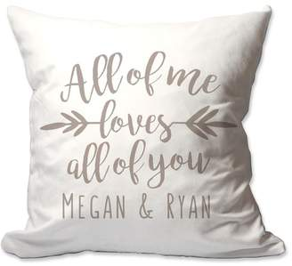 4 Wooden Shoes Personalized All of Me Loves All of You Throw Pillow
