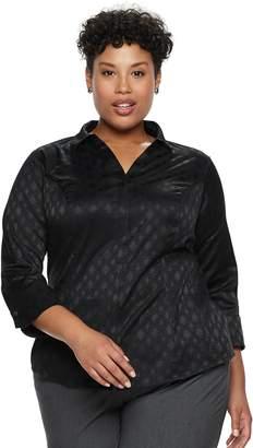 Dana Buchman Plus Size Hidden Placket Button-Down Shirt