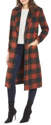 Leith Single Button Plaid Coat